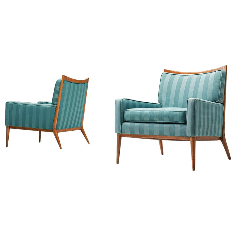 Paul McCobb Walnut Lounge Chairs in Original Fabric  For Sale