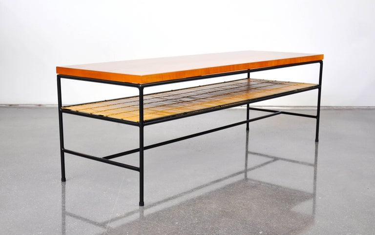 Mid-20th Century Paul McCobb Winchendon Iron and Maple Coffee Table For Sale
