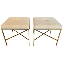 Paul McCobb X Base Brass Stools, Pair
