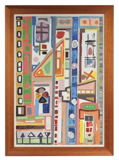 Bright Abstracted Oil Painting, Mid 20th Century