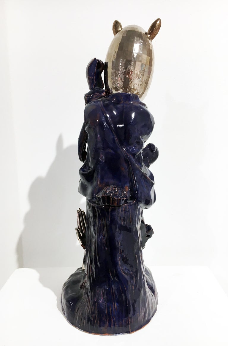 Contemporary Porcelain and Earthenware Sculpture with Glaze and Luster For Sale 3