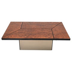 Paul Michel Burl Wood Cocktail Coffee Table, France, circa 1970