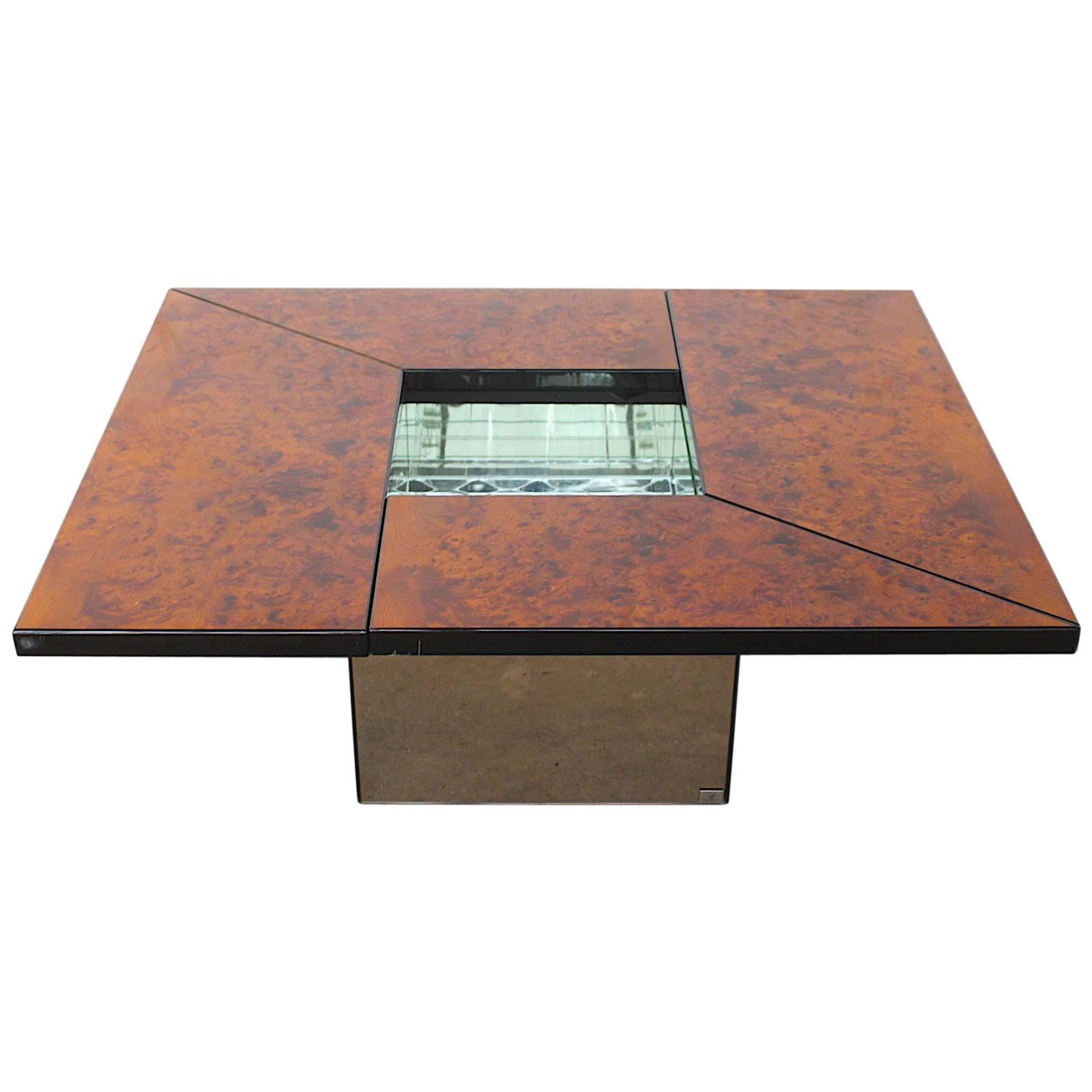 Paul Michel Burl Wood Multi-Functional Coffee Table and Dry Bar