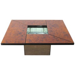 Paul Michel Burl Wood Multi-Functional Coffee Table and Dry Bar