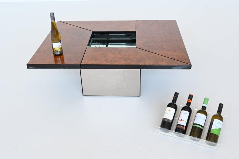 Paul Michel Cocktail Bar Coffee Table Burl Wood, France, 1970 For Sale 8