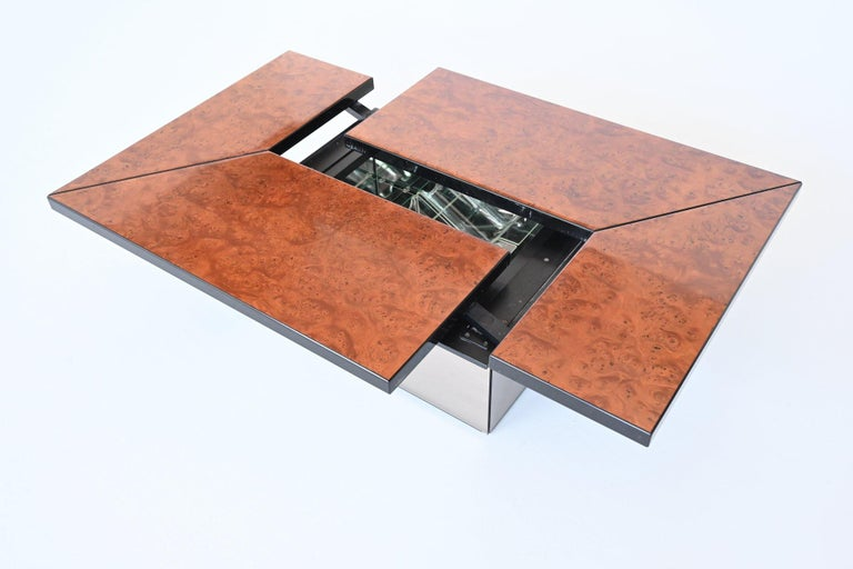 Mid-Century Modern Paul Michel Cocktail Bar Coffee Table Burl Wood, France, 1970 For Sale