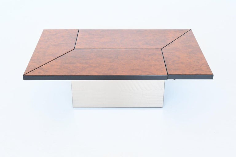 French Paul Michel Cocktail Bar Coffee Table Burl Wood, France, 1970 For Sale