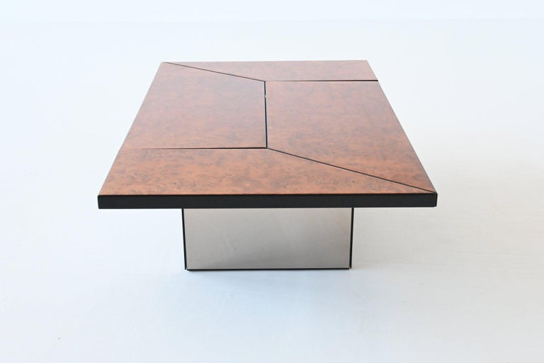 Late 20th Century Paul Michel Cocktail Bar Coffee Table Burl Wood, France, 1970 For Sale
