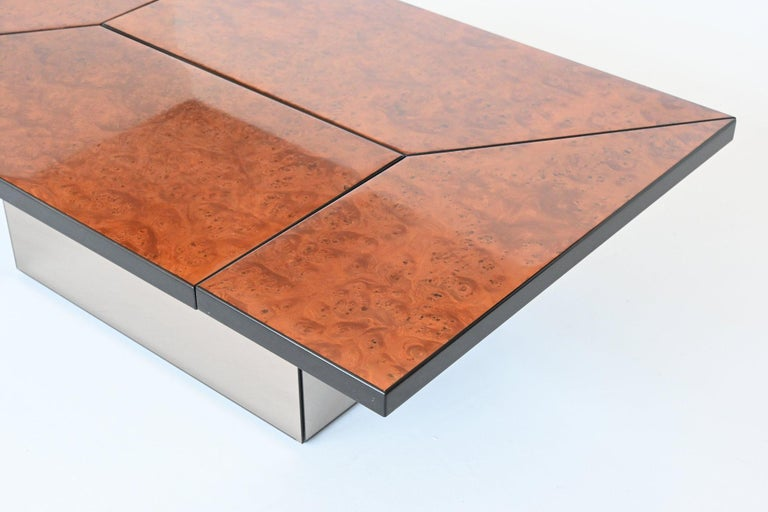 Glass Paul Michel Cocktail Bar Coffee Table Burl Wood, France, 1970 For Sale