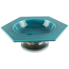 Paul Milet for Sevres Art Deco Bronze and Turquoise Ceramic Bowl