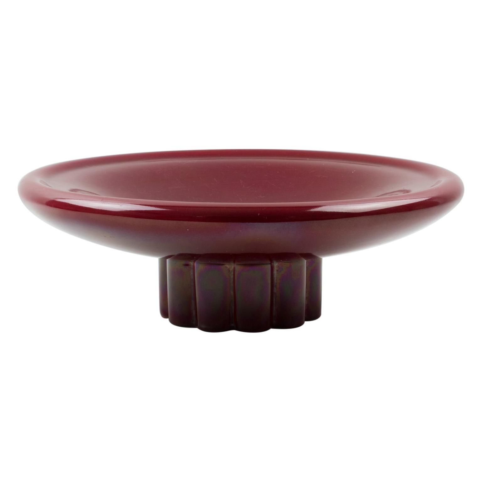 Paul Milet for Sevres Art Deco Oxblood Ceramic Bowl Centerpiece