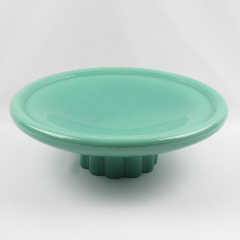 French Paul Milet for Sevres Art Deco Celadon Ceramic Bowl Centerpiece For Sale