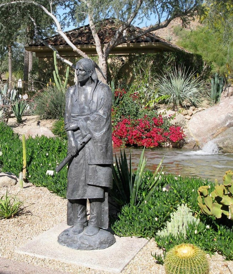 Waiting For His Lover, Paul Moore bronze sculpture, Native American Flute For Sale 1