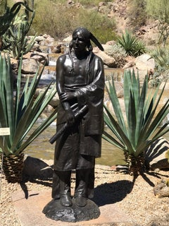 Waiting For His Lover, Paul Moore bronze sculpture, Native American Flute