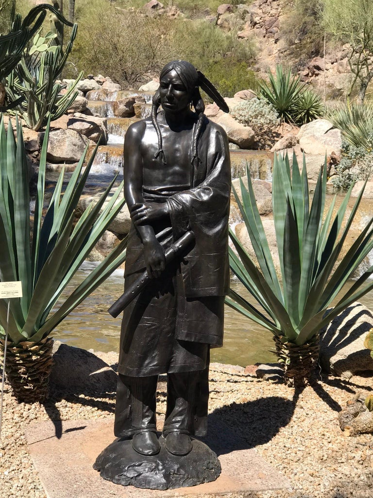 Waiting For His Lover, Paul Moore bronze sculpture, Native American Flute - Sculpture by Paul Moore