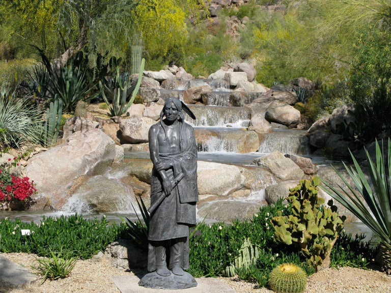 Waiting For His Lover, Paul Moore bronze sculpture, Native American Flute For Sale 2