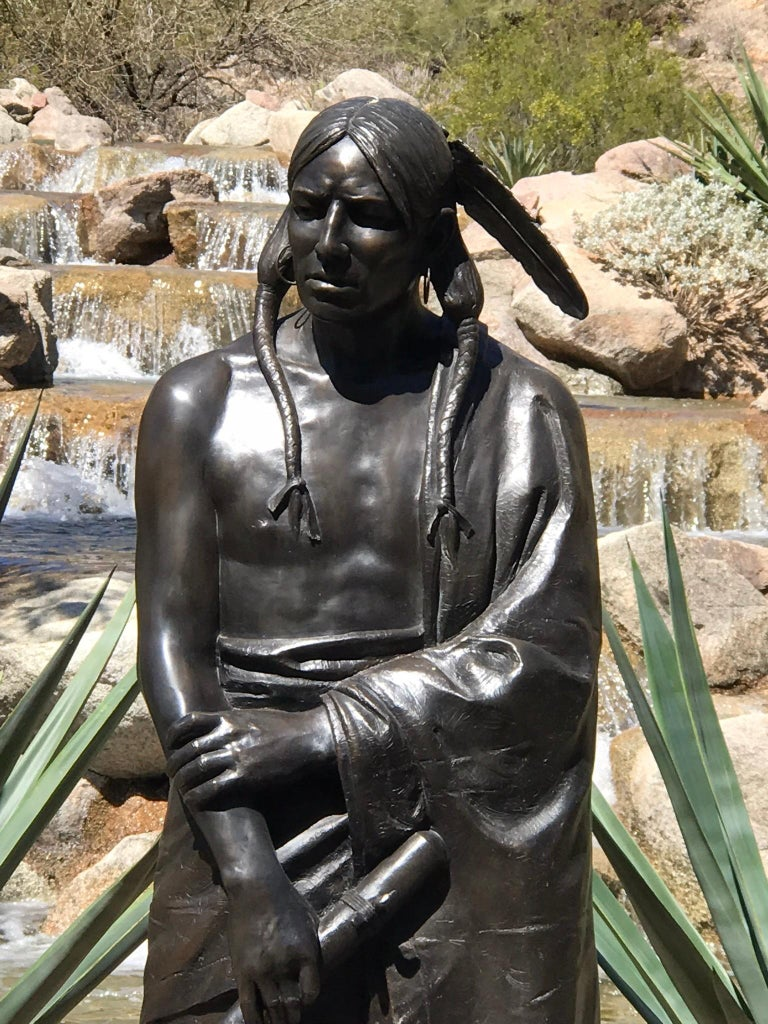 Waiting For His Lover, Paul Moore bronze sculpture, Native American Flute - Contemporary Sculpture by Paul Moore