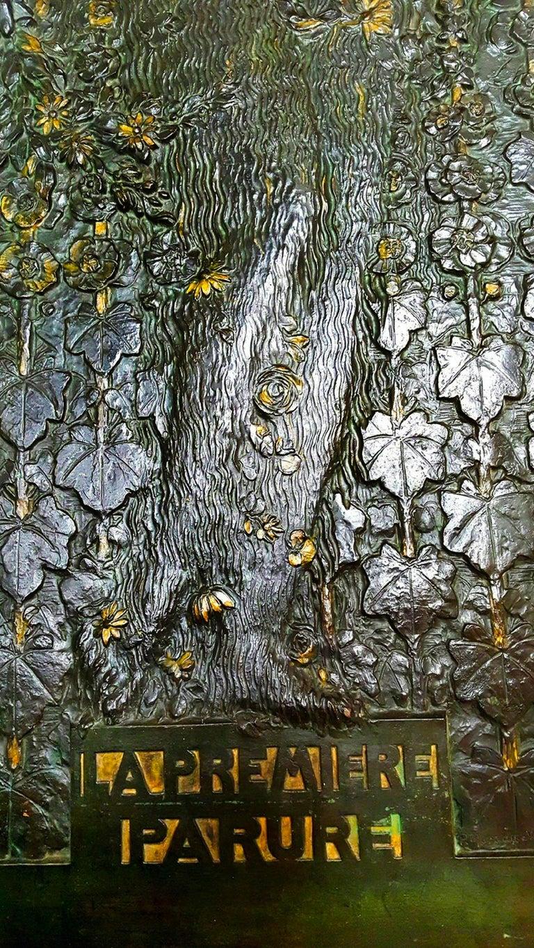 La Première Parure (Eve) -- Art Nouveau oversized bas-relief - Gold Nude Sculpture by Paul Moreau-Vauthier