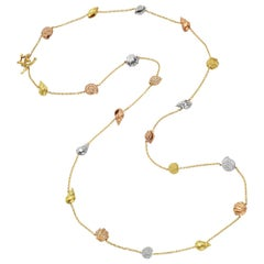 "​Paul Morelli 18 Karat Gold and Diamond ""Shell"" Long Station Necklace"