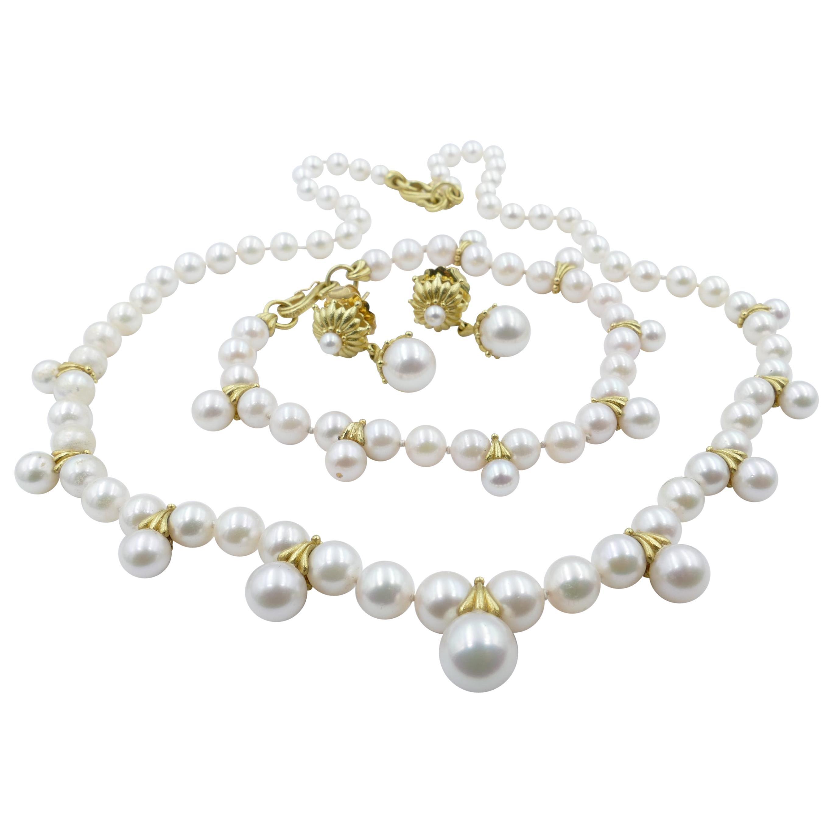 Paul Morelli 18 Karat Yellow Gold Designer Suite of Pearls