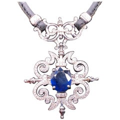 Paul Morelli Garden Gate Sapphire on Leather Necklace in White Gold