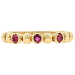 Paul Morelli Ruby Stackable Band Ring Yellow Gold, 18k Round Cut .33ctw Designer