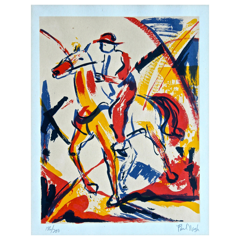 "Paul Nash Lithograph ""Horse and Rider"" Vorticism British Modern Art"