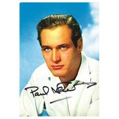 Paul Newman Vintage Original Signed Promotional Postcard Colour