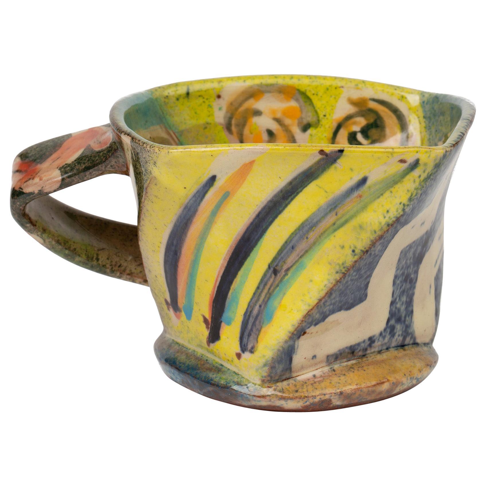 Paul Northmore Jackson Abstract Colorful Hand Painted Studio Pottery Mug, 1993