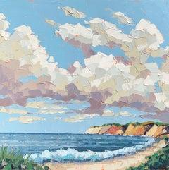 """""""Aquinnah Cliffs"""" Acrylic on canvas seascape with beach, ocean and cliffs"""