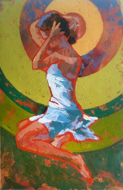 """""""Bathing"""" impasto painting of woman with orange, red and green background"""