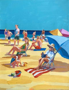 """Beach Read"" acrylic painting of colorful beach scene with blue sky"