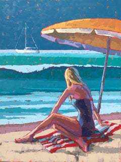 """""""Beach Read"""" Painterly Impasto Bright Blue Turquoise Yellow Red Woman on Towel"""
