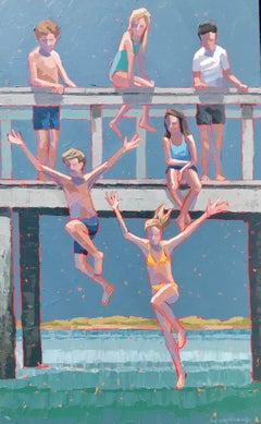 """""""Deep Blue"""" impasto painting of kids jumping from a bridge into blue water"""