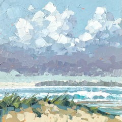 """""""Evening Light"""" acrylic on canvas seascape painting with dunes, ocean and sky"""
