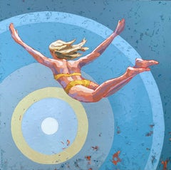 """Freedom"" acrylic impasto painting of woman, yellow bikini diving, blue bullseye"