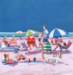 """Girls Best Friend"" acrylic painting of colorful beach scene with blue sky"