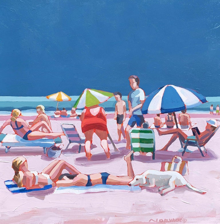 "Paul Norwood Figurative Painting - ""Girls Best Friend"" acrylic painting of colorful beach scene with blue sky"