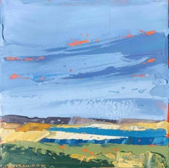 """""""Great Pond Bar"""" Painterly Impasto Landscape with Yellows Blues Greens"""