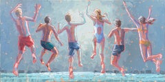 """""""Here Comes the Sun"""" acrylic painting of kids in swimsuits jumping"""