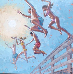 """Letting Go"" abstract acrylic painting of four kids in swimsuits jumping in sun"
