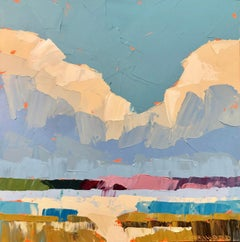 """""""Midas Clouds"""" Impasto landscape painting with blue, pink and green"""
