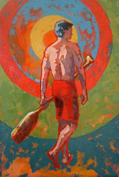 """Paddle"" impasto painting of man with paddle on orange, red and green background"