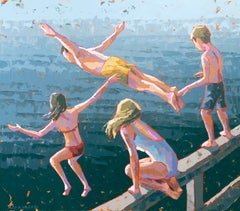 """Rite of Summer"" Impasto painting of four kids jumping into deep blue water"