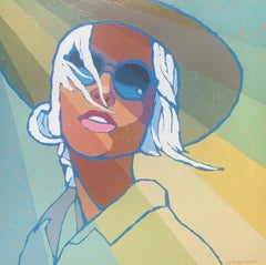 """Sunshine"" portrait of a woman in a sunhat and sunglasses, yellow, blue, green"