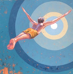 """Swan Dive"" Oil painting of a boy in yellow swim trunks diving with arms out"
