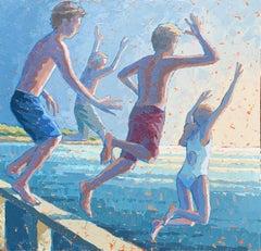 """The Push"" impasto acrylic painting of kids juming off a bridge light blue sky"