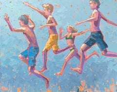 """""""Walking on Air"""" impasto acrylic painting of kids in swimsuits jumping"""