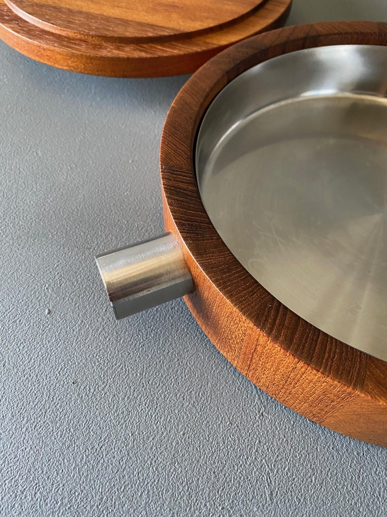 20th Century Paul Pedersen Combiwood Serving Bowl for Lundtofte of Denmark, circa 1960 For Sale