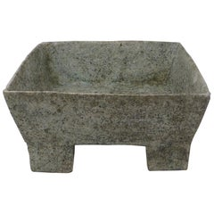 Paul Philp, Stoneware Textured Vessel of Square Form with Green Glaze